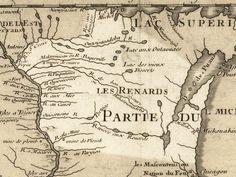 Gravure représentant une carte du Wisconsin en Nouvelle-France par Guillaume Delisle en 1718.