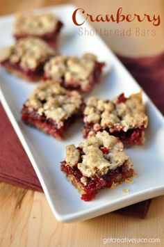 Delicious Cranberry Shortbread Bars recipe - cranberry sauce made from scratch for these yummy cranberry dessert bars! Perfect for holiday baking!
