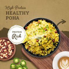 Indian Breakfast, Breakfast Healthy, Protein Pack, Healthy Protein, Healthy Options, Healthy Recipes, Poha Recipe, Dried Chillies, Chaat Masala