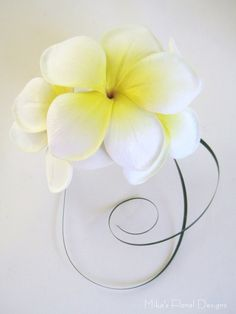 Real Touch Frangipani Wrist Corsage (three flowers)