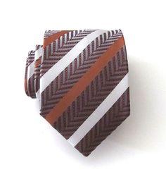 Necktie Rust and White Striped Silk Mens Necktie