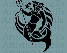 Neptune Roman God of the Sea Stencil - Krieger - Populer Tattoo Pin Share Star Stencil, Stencils, Posseidon Tattoo, Tolle Logos, Fantasy Logo, Tattoo Project, Mermaid Tattoos, Desenho Tattoo, Roman