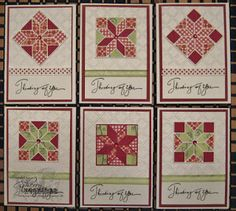 notecard set of qult cards from Stamping Cowgirl Creations: Life is a quilt ... reds and mint on white ... variations of patterned papers using die cut quilt block from Wplus9 ... luv them!