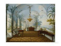 Painted Salon in the Palace of Schonbrunn Called Marian's Drawing Room, Schonbrunn Lámina giclée