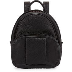 Alexander Wang Dumbo Leather Backpack (1 528 AUD) ❤ liked on Polyvore featuring bags, backpacks, black, leather strap backpack, leather bags, leather knapsack, genuine leather bag and alexander wang bag
