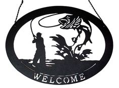 """Large Metal Welcome Fishing Sign black silhouette measures 23.75""""H x 15""""W.  #fishing #gardendecor"""
