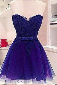 Cute blue lace + organza prom dress, homecoming party dress, short prom dress for teens