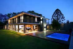 South African architectural studio Design Partnership has completed this contemporary two-level residence in Johannesburg with it's own private swimming pool and courtyard.