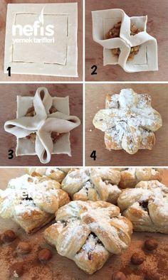 Lezzetli Elmalı Milföy English Biscuits, Pan Relleno, Pastry Design, Bread Shaping, Greek Cooking, Bread And Pastries, Sweet Tarts, Arabic Food, Sweet Recipes