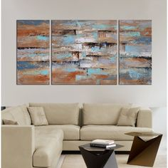 Hand-painted 'Abstract 491' 3-piece Gallery-wrapped Canvas Art Set | Overstock.com Shopping - The Best Deals on Canvas