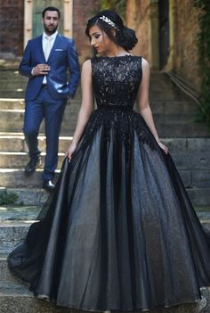 $159-New Arrival Black Lace Prom Dresses Long Custom Made Evening Gowns