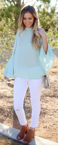 #spring #fashion /  Green Open Shoulder Top / White Ripped Skinny Jeans / Brown Open Toe Booties