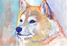 Akita Dog Painting Canvas Portrait Print Dog Painting Limited Edition Akita Canvas art Print Artist Signed Canine Art gift… #dogs #etsy #art