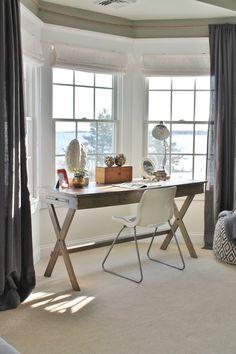 DIY rope curtain rod - great lake house living idea via @cityfarmhouse1