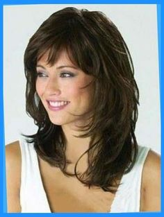 Monofilament Shining Wavy Synthetic Medium Wigs, Medium Length Hair Pieces Monofile g Medium Shag Hairstyles, Hairstyles With Bangs, Cool Hairstyles, Hairstyle Hacks, Evening Hairstyles, Makeup Hairstyle, Hairstyles 2016, Elegant Hairstyles, Black Hairstyles