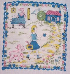Vintage Hanky - school girl and lamb in pink, blue and yellow