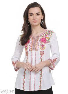 Tops & Tunics SAAKAA Women's Rayon Off White Embroidery Top Fabric: Rayon Pattern: Embroidered Multipack: 1 Sizes: S XL XS L M XXL Country of Origin: India Sizes Available: XS, S, M, L, XL, XXL   Catalog Rating: ★4.2 (847)  Catalog Name: Stylish Fabulous Women Tops & Tunics CatalogID_1777086 C79-SC1020 Code: 905-9961243-9231