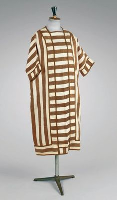 Paul Poiret, House Dress of White Linen and Tobacco-Colored Stripes, c. 1920