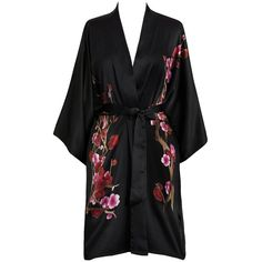 Old Shanghai Women's Silk Kimono Short Robe Handpainted ($99) ❤ liked on Polyvore featuring intimates, robes, silk robe kimono, short kimono robe, bath robes, kimono robe and silk dressing gown