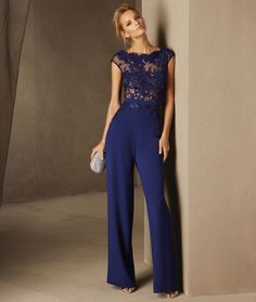 Breda - Cocktail jumpsuit with short sleeves and a bateau neckline in lace and crepe Royal Blue Evening Dress, Royal Blue Dresses, Dresses Uk, Evening Dresses, Prom Dresses, Formal Dresses, Cocktail Jumpsuit, Cocktail Outfit, I Dress
