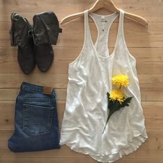 | Joe's Jeans Linen Tank Top Super soft, creamy white T back tank top.  Drapes beautifully. 100% linen.  In excellent condition. Joe's Jeans Tops Tank Tops