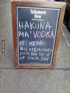 Timon And Pumba Opened A Pub… the best thing I've seen all day! Hakuna Ma Vodka, Haha, Image Citation, Nerd, Youre My Person, Funny Signs, I Smile, Decir No, I Laughed
