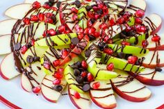 Pomegranate Chocolate & Apple Nachos! - Afternoon snacks that turn Mom's & Dad's into Hero's! Really! Fun enough to get the kids attention...full of nutrients and energy to help kids power through their afternoon activities! - Clean Food Crush