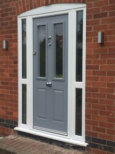 Moondust grey composite door in a white upvc frame. Installed by Windseal Double Glazing based in Coventry & Warwickshire French Country Interiors, House With Porch, Painted Upvc Door, Country Interior Design, Composite Front Door, Exterior Paint Colors For House, Front Door Inspiration, Front Porch Design, Building A Porch