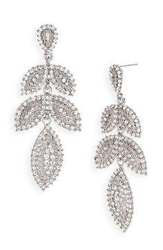 Tasha Linear Leaf Chandelier Statement Earrings