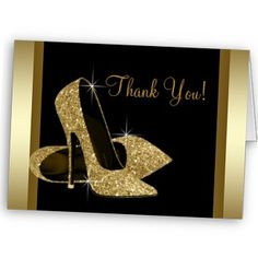 Black Gold High Heels Womans 50th Brithday Personalized Announcement from Zazzle.com