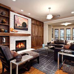 fireplace, asymmetrical mantel