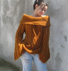 Women tops Sweaters & Cardigans handmade Gold brown Hand knitted chunky  Sweater ...M/L.... $260.00, via Etsy.