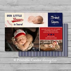 Baseball Baby Birth Announcement Photo Card  by printablecandee birth announcements sports, baseball birth announcements #baby #newborn