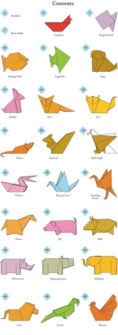 Easy #origami Animals - page 2 of 6 (Contents)
