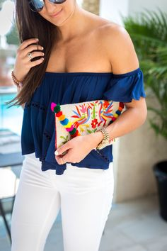 navy off the shoulder top, pom clutch, vacation style, vacation outfit, beach outfit, tropical outfit ideas, beach style, nude wedge sandal // grace wainwright from a southern drawl