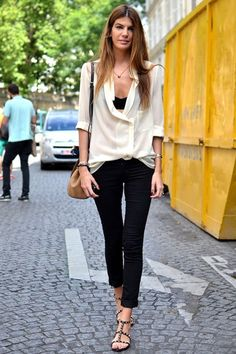 Paris Street Style - the unstructured cream shirt with a classic pant and statement heels is given a cheeky makeover with a cheeky black crop! CUTE!!