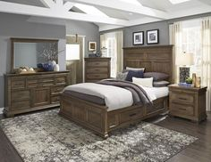 20 tips will help you improve the environment in your bedroom NARCINE COLLECTION. Classic transitional styling takes on a rustic aesthetic in the design of the NARCINE Collection. Sleigh Bedroom Set, King Bedroom Sets, Gray Bedroom, Master Bedroom, Storage Bed Queen, Bedroom Storage, Door Storage, Storage Drawers, Modern Country Bedrooms