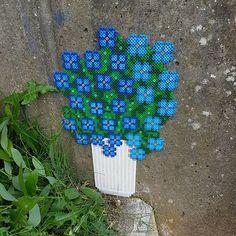 #forgetmenot #freehand #nopattern #brugfantasien #sigdetmedblomster #forglemmigej #pyntdinby #withlove #perlemor #beadstreetart #pixelart #popart #gadekunst #streetart #happyart #beadart #hamabeads #nabbibeads #bügelperlen #fusebeads #photopearls #perler #beads #vestjylland #decorating #denmark #beadbombing #love #flowers #lyngbyvase