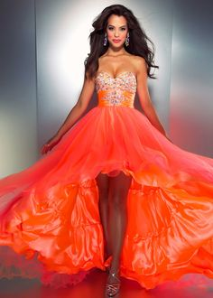 One of our most Popular dresses of the Season!   Cassandra Stone by Mac Duggal 3213A - Neon Orange Strapless Hi-Lo Prom Dress - ThePromDresses.com