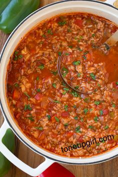 Who doesn't love a good, hearty, healthy soup recipe? This Stuffed Pepper Soup is one of my favorites! Clean eating and 21 Day Fix approved as well! Slow Cooker Recipes, Crockpot Recipes, Soup Recipes, Cooking Recipes, Healthy Recipes, Ww Recipes, Recipes Dinner, Crockpot Lunch, Healthy Soups