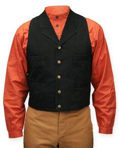 Four-Pocket Canvas Vest - Black by Gentleman's Emporium