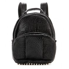 Alexander Wang Dumbo Leather Backpack (€960) ❤ liked on Polyvore featuring bags, backpacks, accessories, bolsas, alexander wang, black, knapsack bags, real leather bag, leather backpack and genuine leather bag