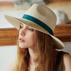 Wide brim panama hat with bow womens beach straw hats for sun protection b39316cccf9b
