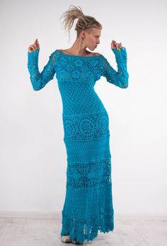 CROCHET turquoise Dress asymmetric Dress Handmade Maxi Dress