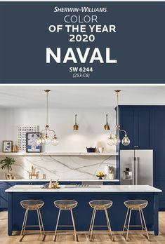 Embrace the next decade with the Sherwin-Williams 2020 Color of the Year, Naval SW The empowering, grounded nature of this navy blue paint color helps you embrace the new year and focus on the… Hunter Douglas, Küchen Design, House Design, Interior Design, Design Ideas, Wall Colors, House Colors, Design Apartment, Paint Colors For Home
