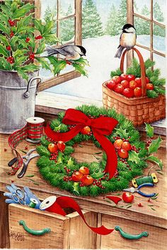 Kathy Goff - Christmas time - wreath, chickadees, winter, Yule, holly, crafts
