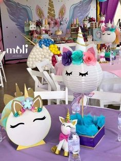 Grace bbshower Unicorn Themed Birthday Party, Unicorn Party, Birthday Party Decorations, 1st Birthday Parties, Girl Birthday, Unicorn Centerpiece, Unicorn Baby Shower, First Birthdays, Unicorns