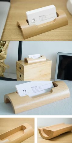 Diy wooden business card holder pinterest business card holders wooden desk business card holder display stand colourmoves