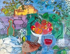 Raoul Dufy (French; Fauvism, 1877-1953): Still Life Before the Yellow House (Nature morte devant la maison jaune).
