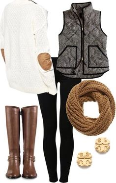 This outfit has everything I love: Elbow patches, boots and that vest that I want so badly!